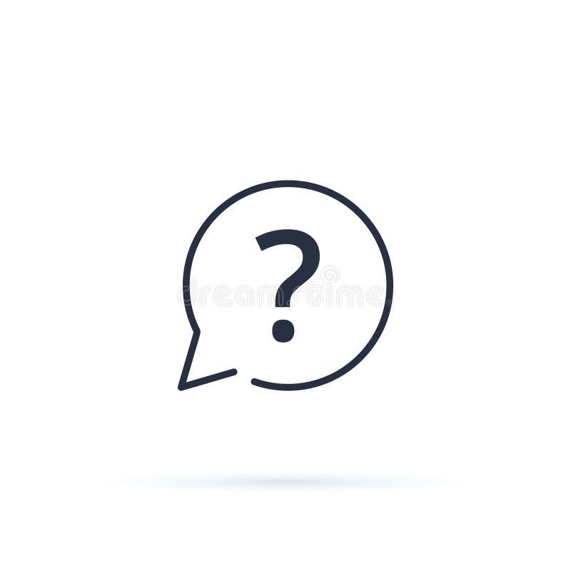 Fragezeichen-Ikonenvektor FAQ-Knopf für Website, lineare Ikone ui Schnittstelle Rat, bitten, antworten oder Unterstützungskonzept vektor abbildung