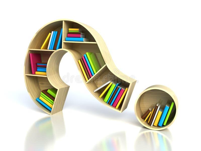 Fragezeichen mit Büchern lizenzfreie abbildung