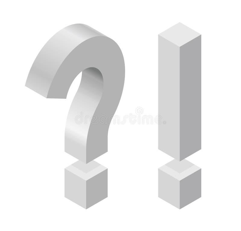 Fragezeichen und Ausrufezeichen in der isometrischen Perspektive lokalisiert auf weißem Hintergrund vektor abbildung