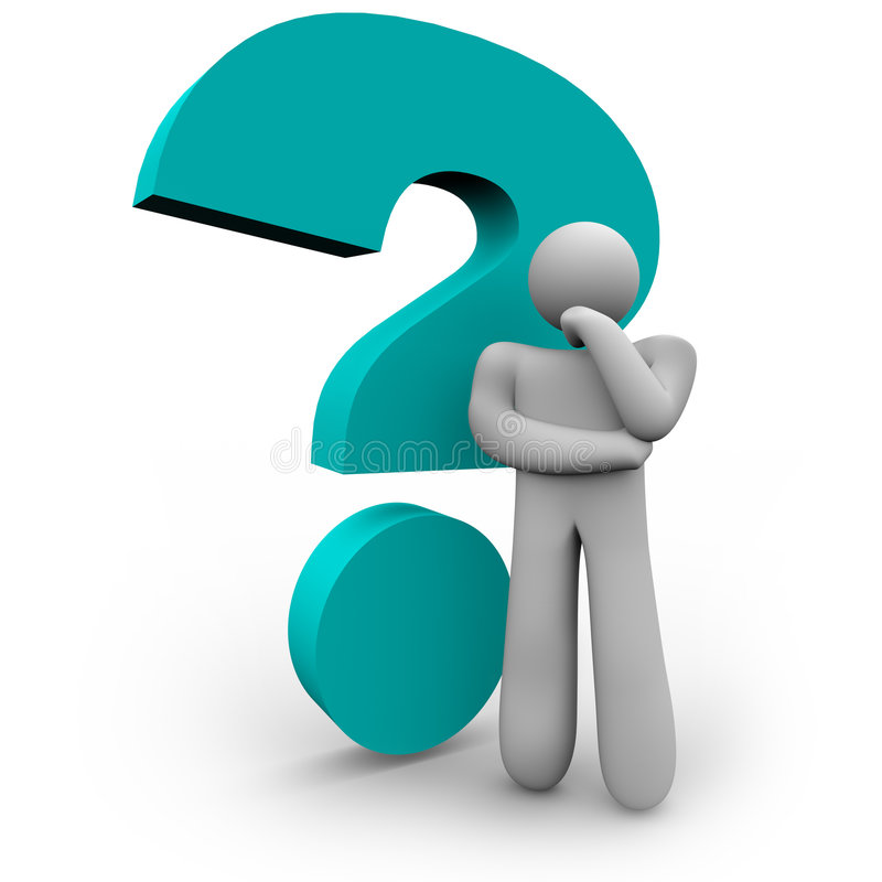 Fragezeichen und Denker stock abbildung