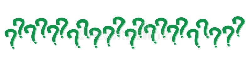 Fragezeichen unterzeichnet herein die grüne Farbe, die nach dem Zufall in einem Reihenmuster mit dem Schatten ausgerichtet ist, d stock abbildung