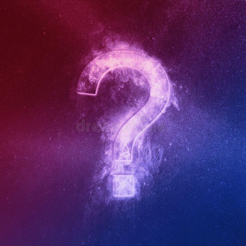Fragezeichen-Zeichen Red Blue Abstrakter Nachthimmel-Hintergrund vektor abbildung