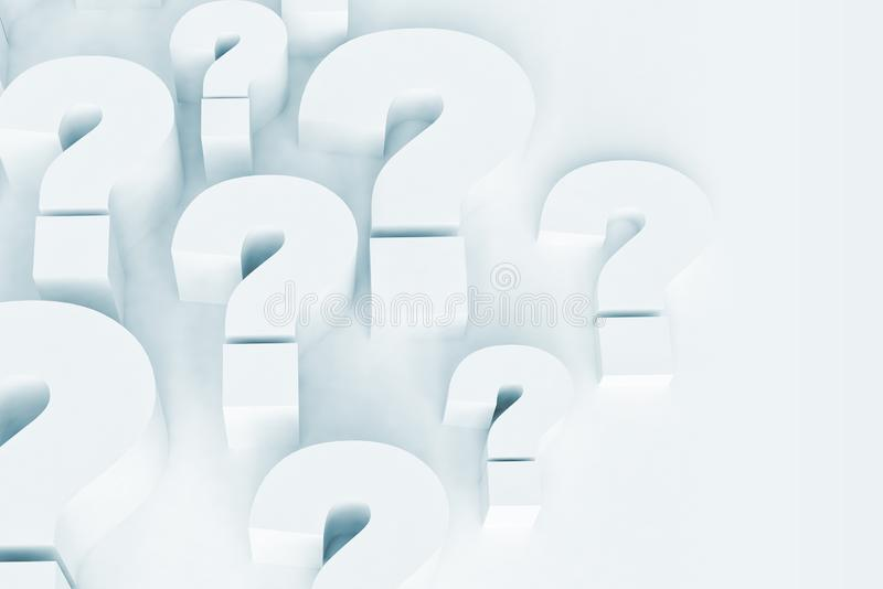 Fragezeichenblau mit Kopienraum lizenzfreie abbildung