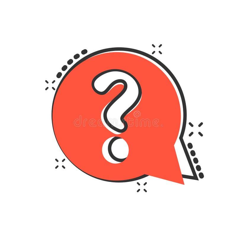 Fragezeichenikone in der komischen Art Diskussionsspracheblasenvektorkarikatur-Illustrationspiktogramm Fragengeschäftskonzept lizenzfreie abbildung