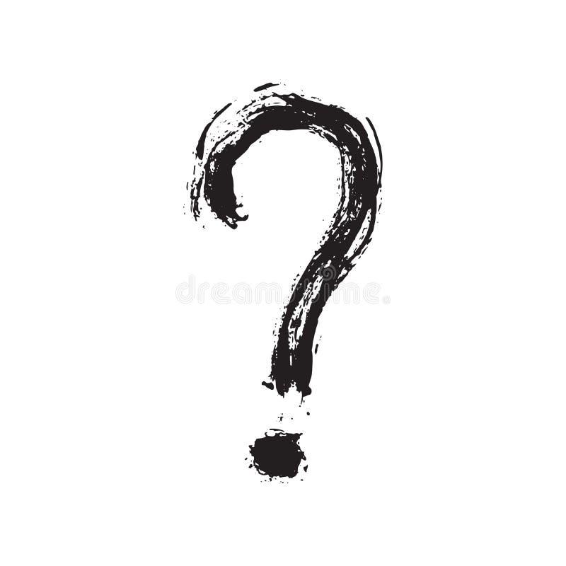 Fragezeichenschmutz die gezeichnete maserte Hand, Vektorillustration stock abbildung