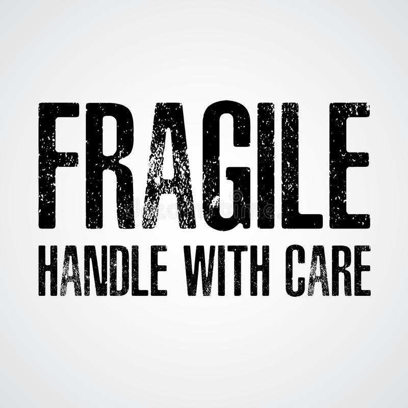 Fragile Black text on White and Grey background. Handle with care vector illustration