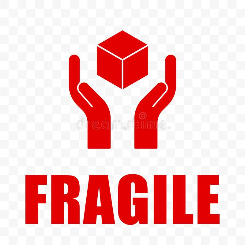 Free Fragile Icon, Handle With Care Logistics Shipping. Fragile Package Delivery, Hands And Box Warning Vector Sign, Isolated Stock Photos - 162335073