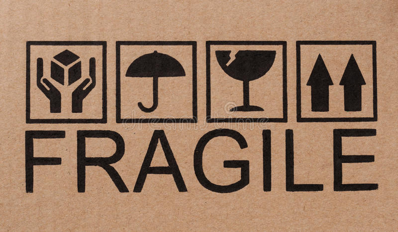 Fragile icons on cardboard. Safety, fragile icons on a cardboard package vector illustration