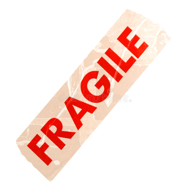 Fragile label isolated over white. Fragile label for packet parcel box isolated over white background royalty free stock image