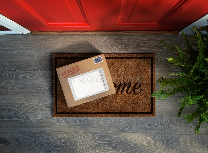 Fragile online purchase delivered to the door. Handle with care, fragile online purchase delivered to the door. Add your own copy to the labels royalty free stock images
