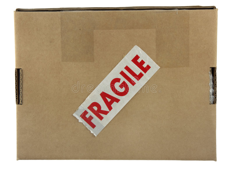 Fragile package. A small carboard box with red fragile label (tape) isolated on white with clipping path royalty free stock photos