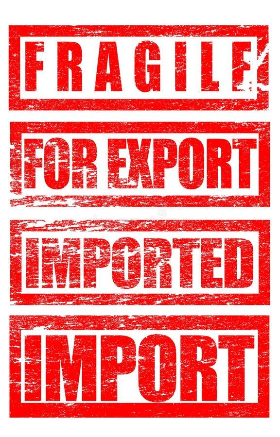 Fragile, per l'esportazione, termini commerciali importati dei segni del timbro di gomma illustrazione di stock