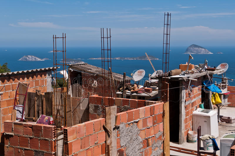 Fragile residential constructions of favela Vidigal in Rio de Janeiro royalty free stock image