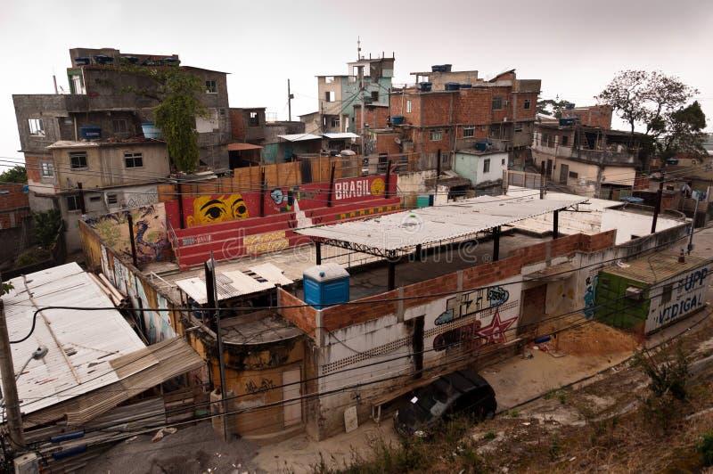 Fragile residential constructions of favela Vidigal in Rio de Janeiro royalty free stock photo