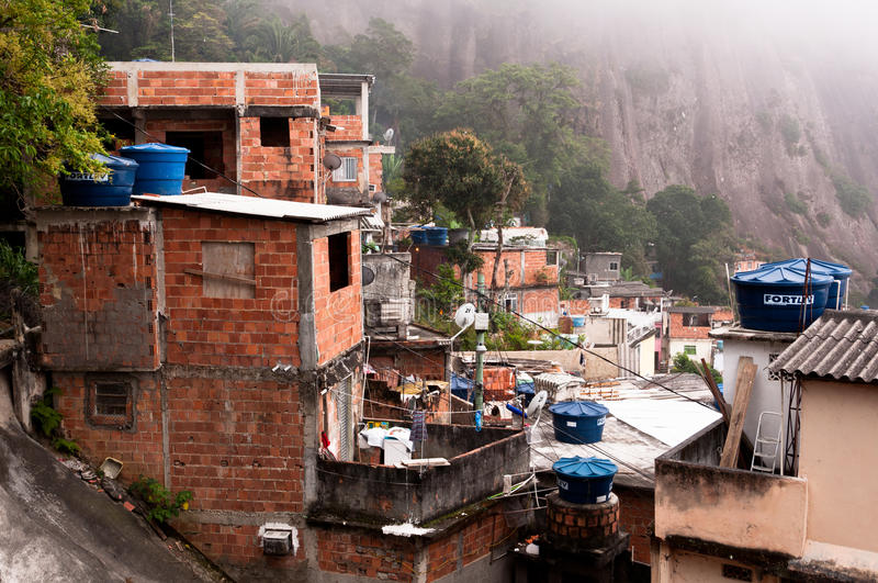 Fragile residential constructions of favela Vidigal in Rio de Janeiro stock images