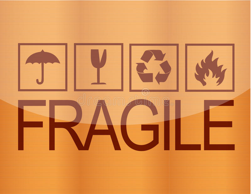 Download Fragile symbol on wood stock vector. Image of object - 21506237