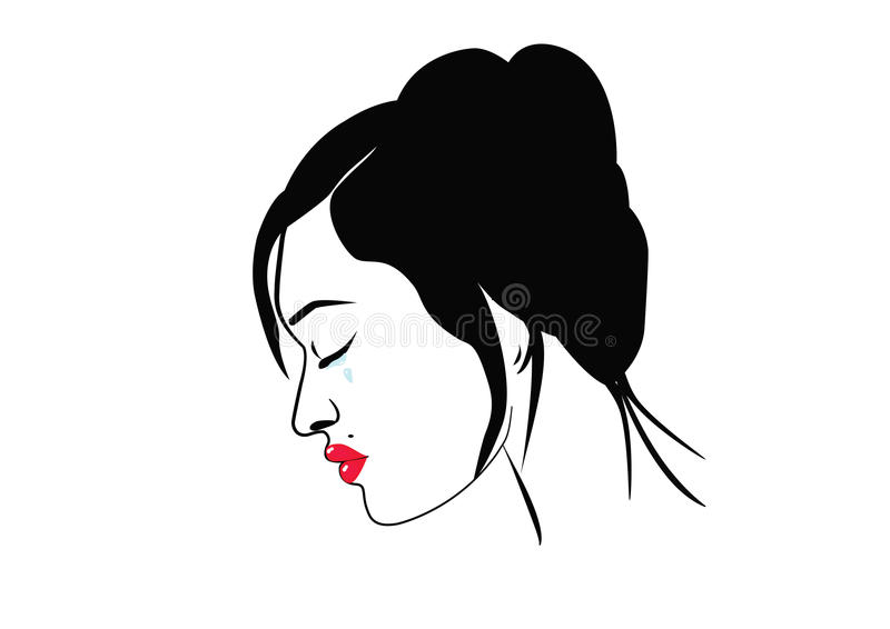 Fragile woman. Illustration of a woman crying