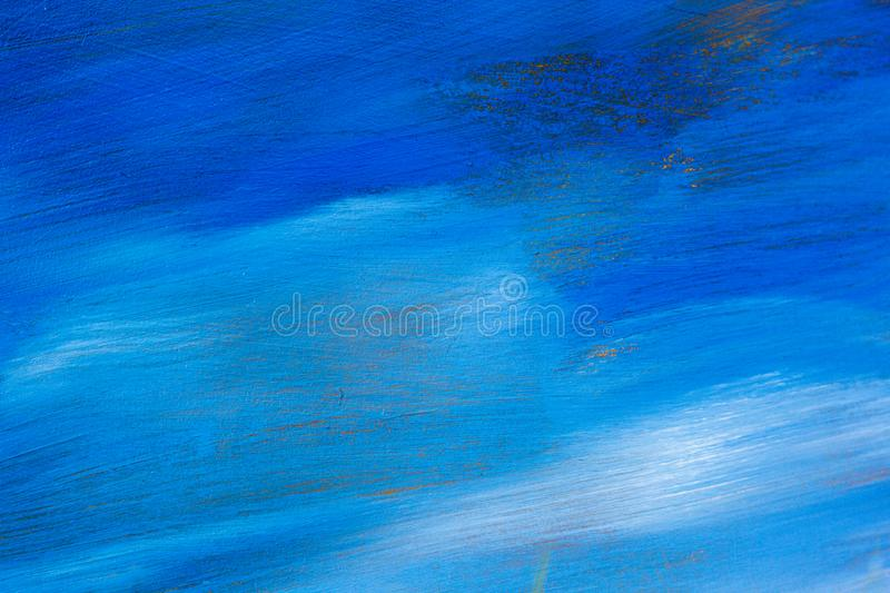 Abstract texture blue sky oil painting background. Closeup macro Hand drawn artwork. stock image