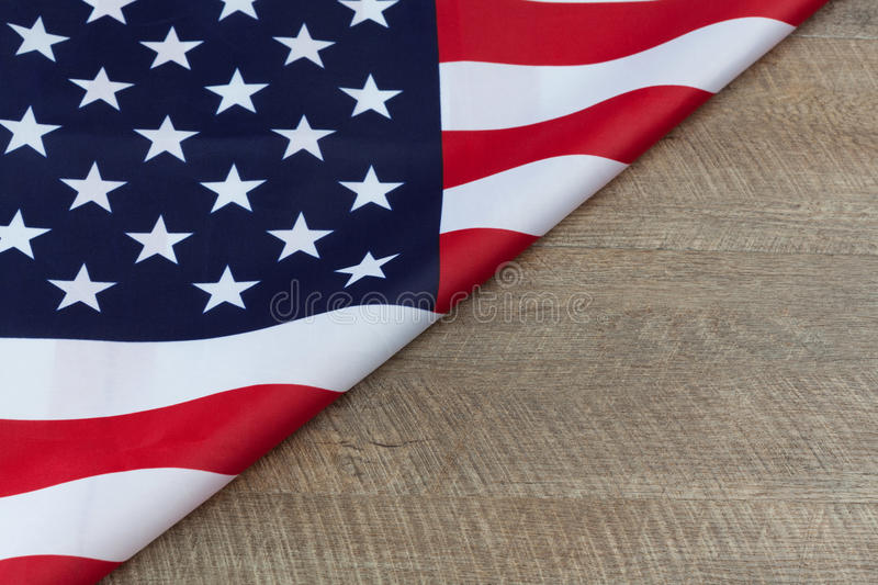 Download Fragment Of American Flag On Wooden Table Horizontal With Copy S Stock Image