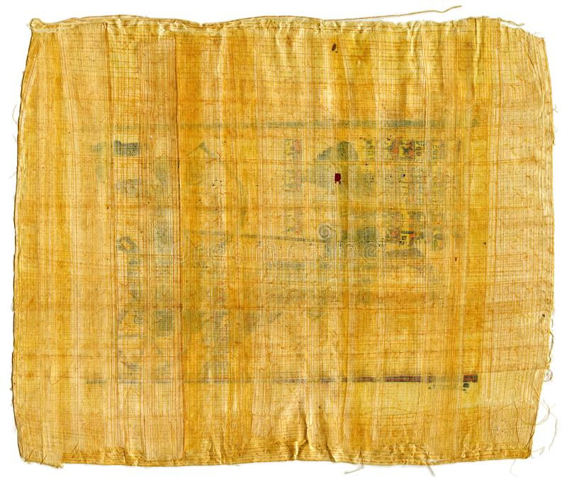 Fragment of Ancient Egyptian papyrus from The Karnak temple, Thebes valley, Luxor, Egypt. Antique manuscript, sheet of parchment. Real ragged scroll, handmade royalty free stock photography