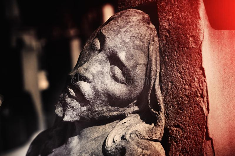 Fragment of antique statue the suffering of Jesus Christ. Close up of antique statue. Religion tradition stock images