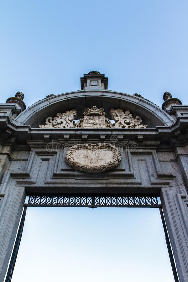Fragment Arch of Triumph - Gate of Alcala, Madrid, Spain 29.12,2016 royalty free stock photo