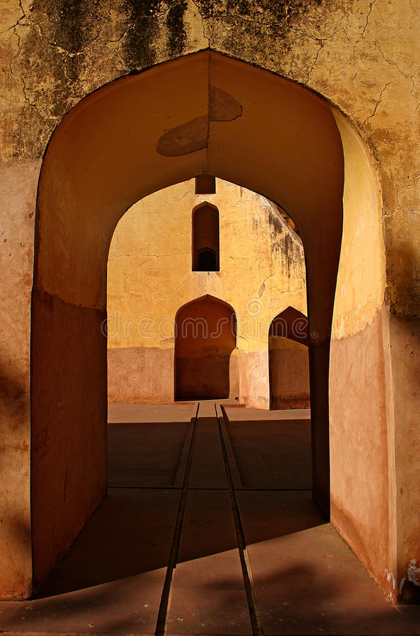 Fragment of the architectural decision. Of an ancient planetarium in Jaipur, India stock photo