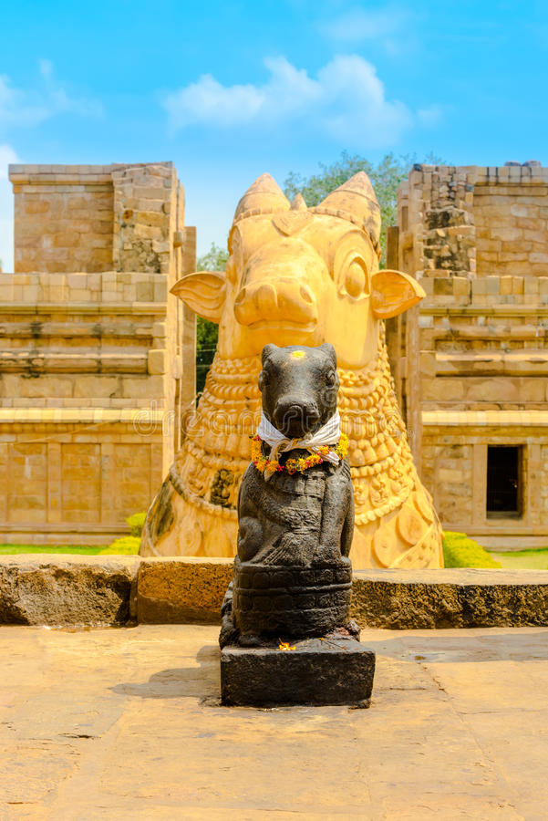 Fragment of architecture Hindu Temple dedicated to Shiva, ancient cows, Gangaikonda Cholapuram Temple, India, Tamil Nadu royalty free stock photos