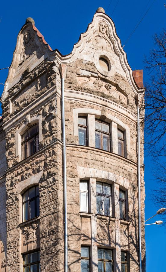 Architecture details. Fragment of Art architecture style Riga city royalty free stock images
