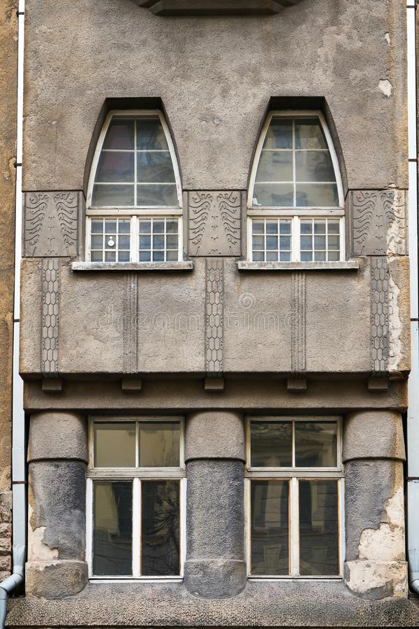 Architecture details. Fragment of Art architecture style Riga city stock images