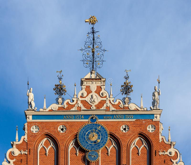 Architecture details. Fragment of Art architecture style Riga city stock image