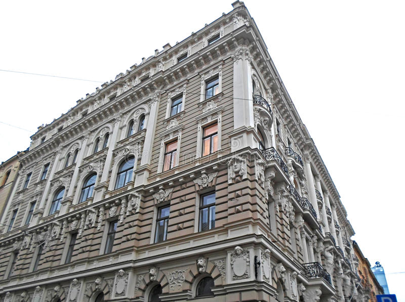 Fragment of Art Nouveau architecture in Riga stock images