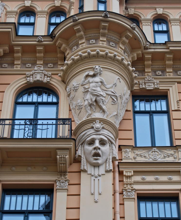 fragment of art nouveau architecture style of riga city stock image