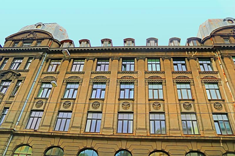 Fragment of Art Nouveau style Jugenstil in Riga, Latvia. Baltic countries, Europe stock images