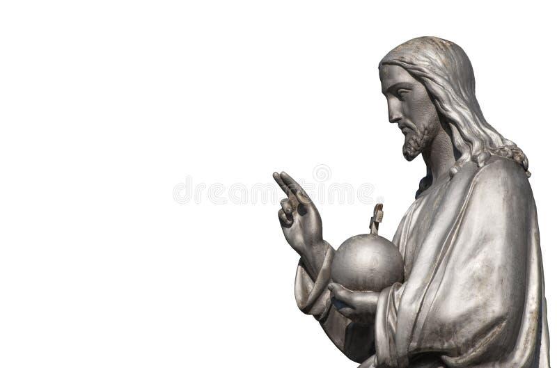 Fragment av den antika statyn av Jesus Christ Isolated på vit bakgrund arkivfoton