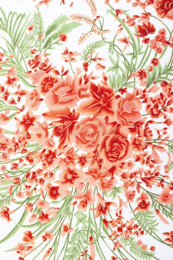 Fragment av den färgrika retro gobelängtextilmodellen med blom- royaltyfri bild