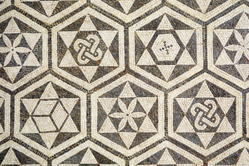 Fragment av den forntida roman mosaiken i Carmona, Spanien arkivfoto