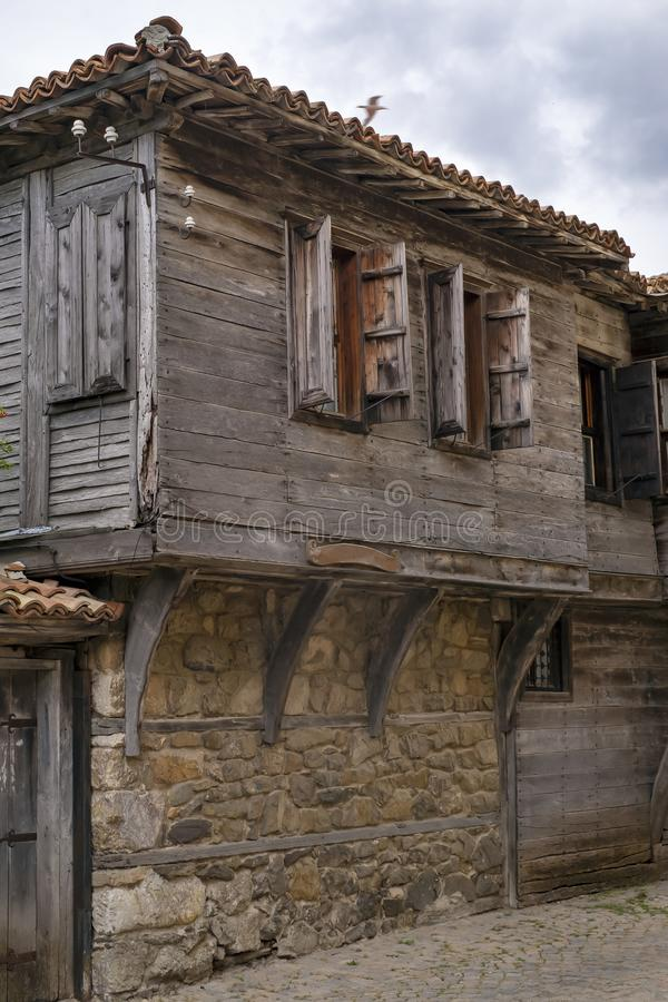 Fragment av den gamla europeiska staden, Bulgarien, Sozopol royaltyfri bild