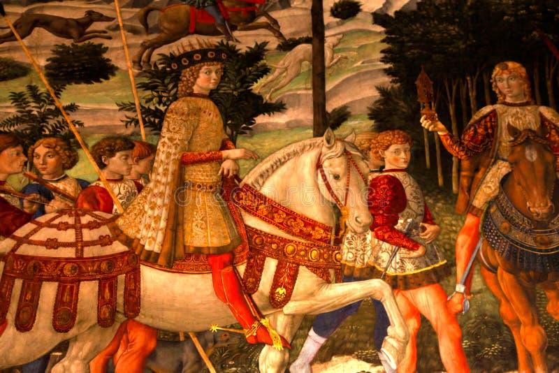 Fragment av den medeltida freskomålningen i Palazzo Medici Riccardi, Florence royaltyfria foton