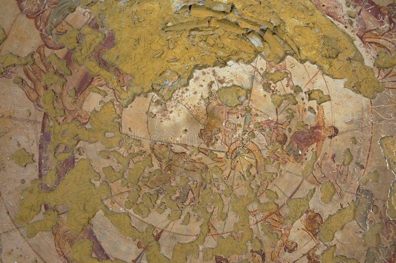Fragment av den romerska vägg- takgarneringen på en forntida Umayyad ökenslott av Qasr Amra i Zarqa, Jordanien arkivbilder