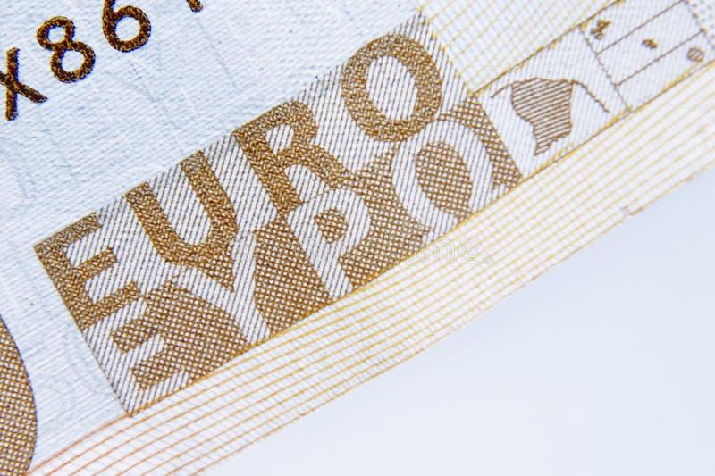 Fragment av en EUROsedelbakgrund Kassa europeisk union, mo arkivbilder