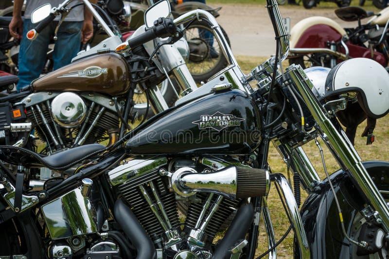 Fragment av en motorcykel Harley-Davidson fotografering för bildbyråer