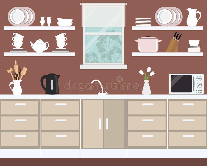 Fragment av kökinre i en brun färg stock illustrationer