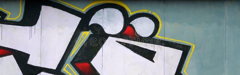 Fragment av kul?ra m?lningar f?r gatakonstgrafitti med konturer och upp skuggningsslut royaltyfri illustrationer
