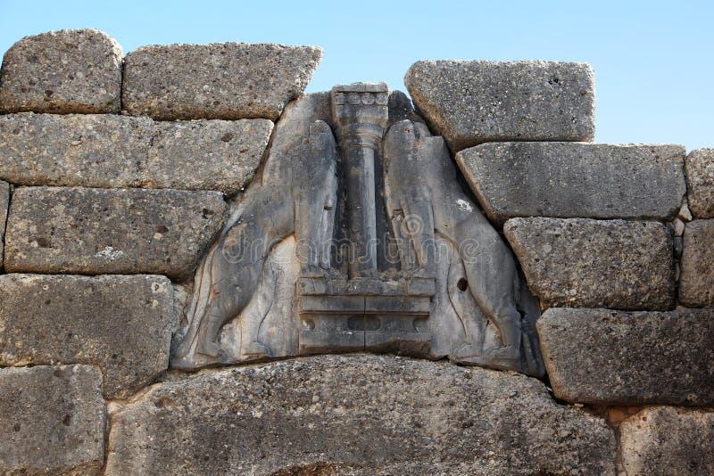 Fragment av Lion Gate i Mycenae, Grekland arkivbilder
