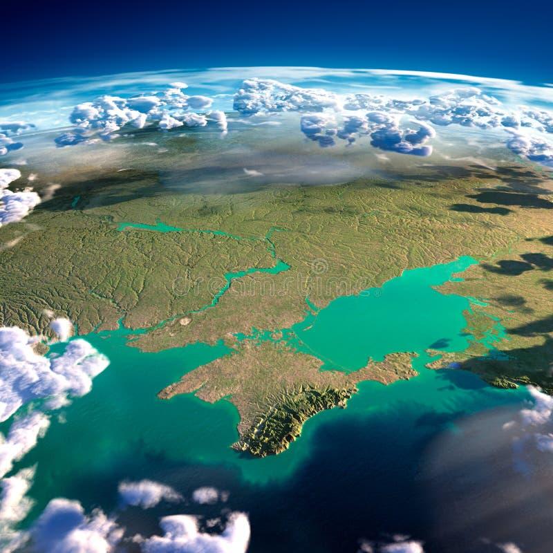 Fragment av planetjorden. Black Sea och Krim stock illustrationer