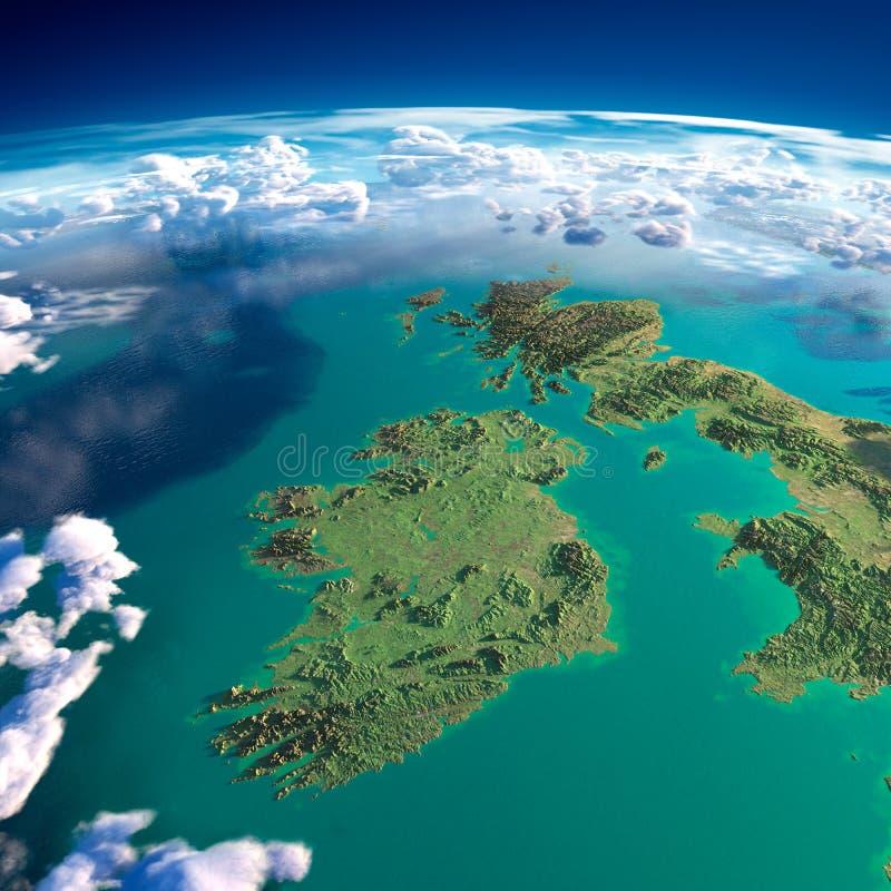 Fragment av planetjorden. Irland och UK royaltyfri illustrationer