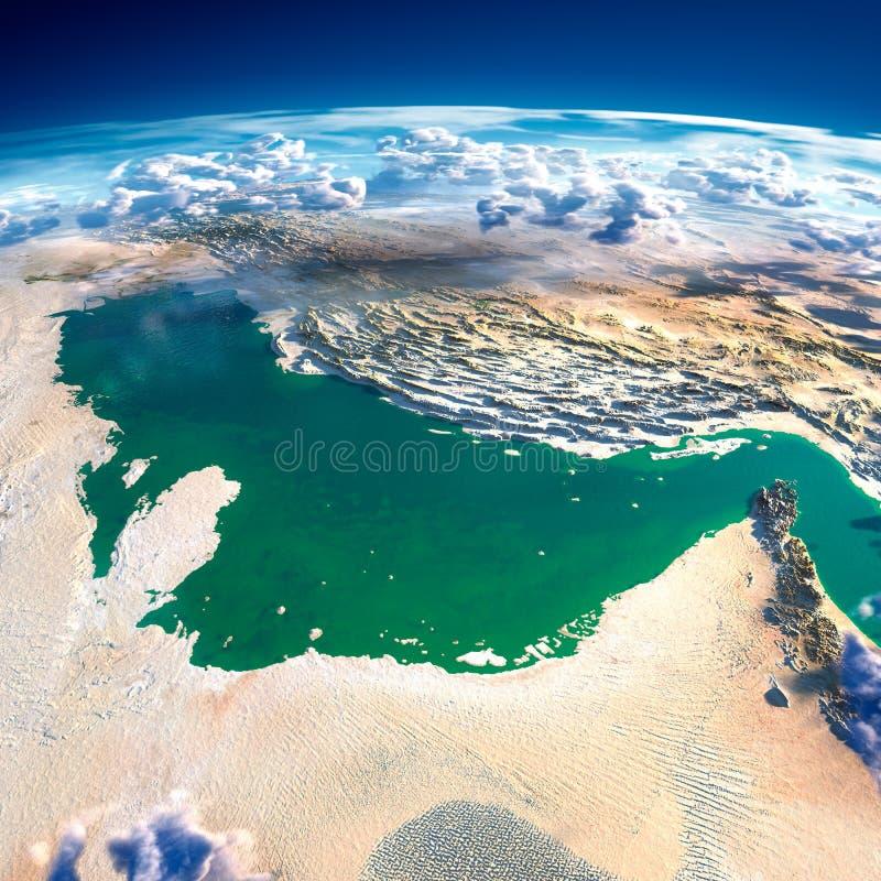 Fragment av planetjorden. Persiska viken stock illustrationer