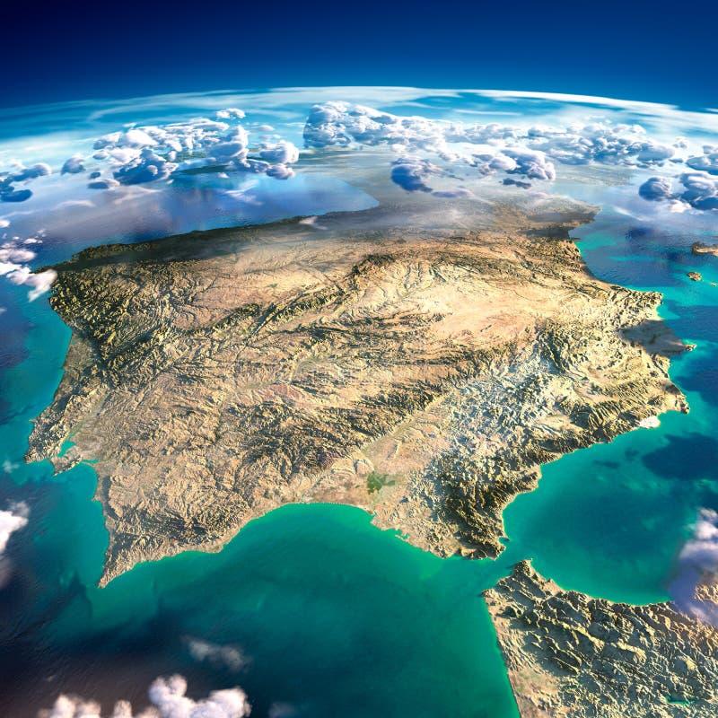 Fragment av planetjorden. Spanien och Portugal vektor illustrationer