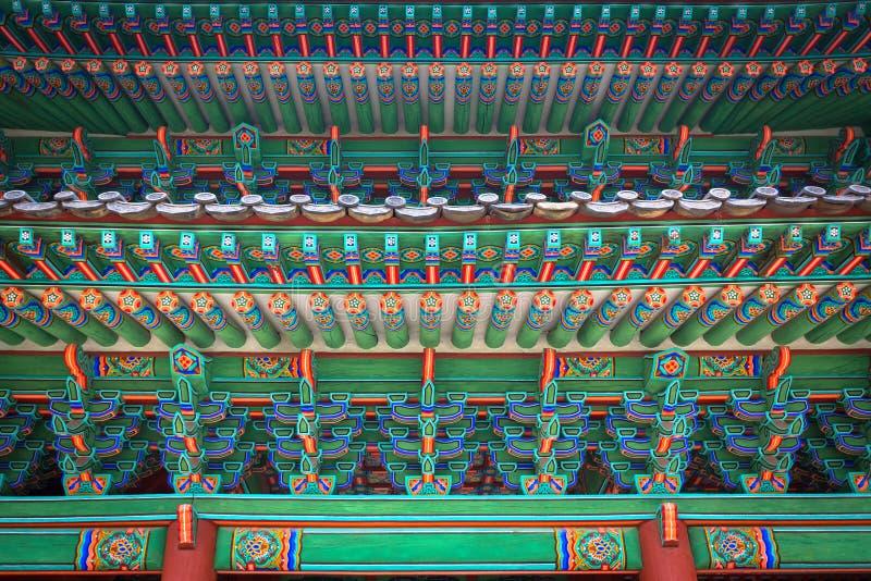 Fragment av porten av den Changgyeonggung slotten, Seoul, Sydkorea arkivfoton